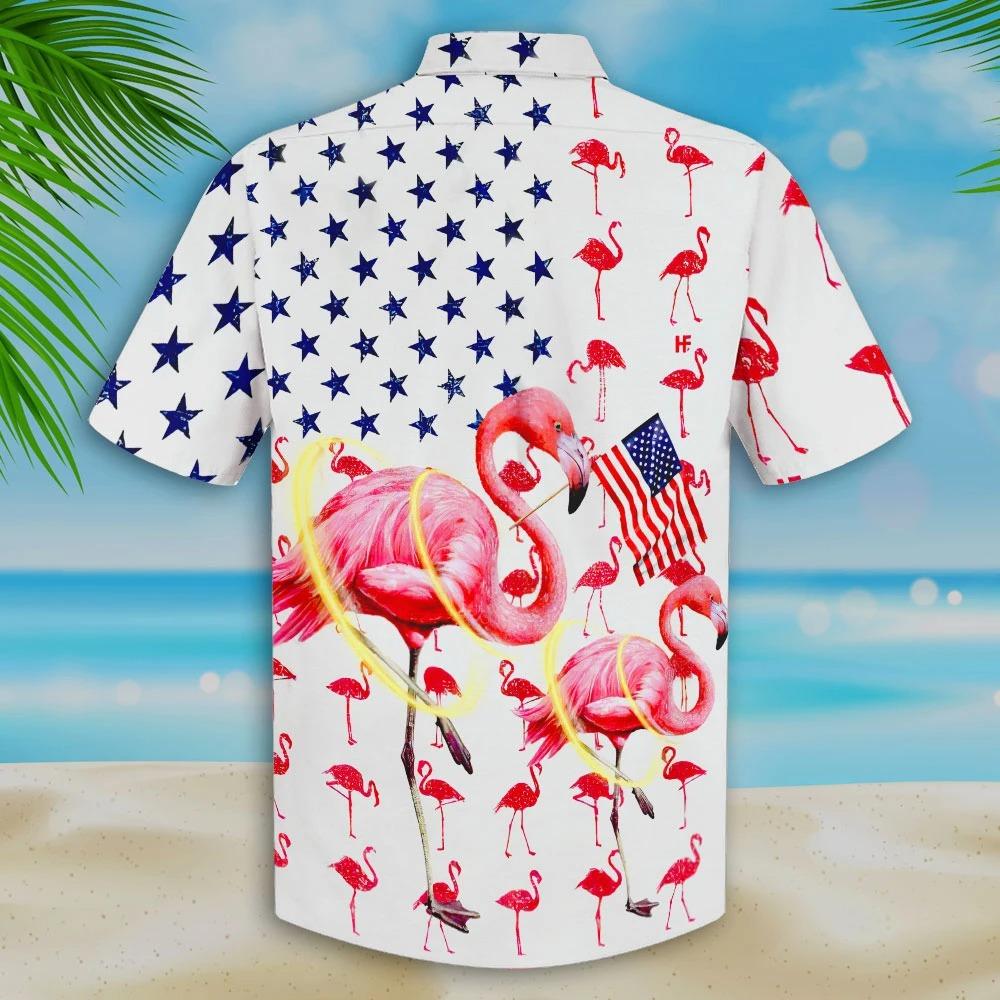 Flamingo American Flag Hawaii Shirt and Short2
