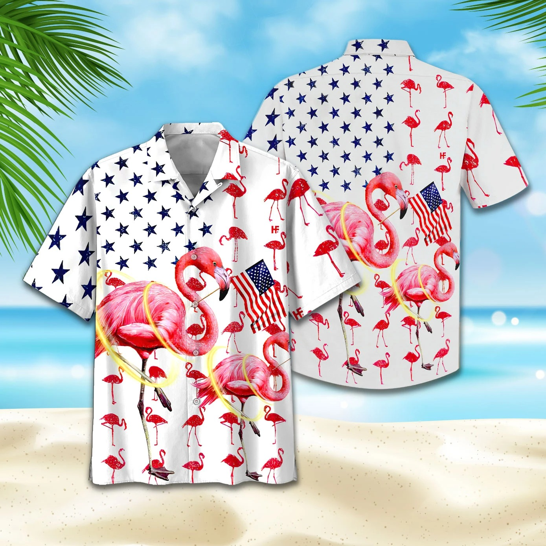 Flamingo American Flag Hawaii Shirt and Short3