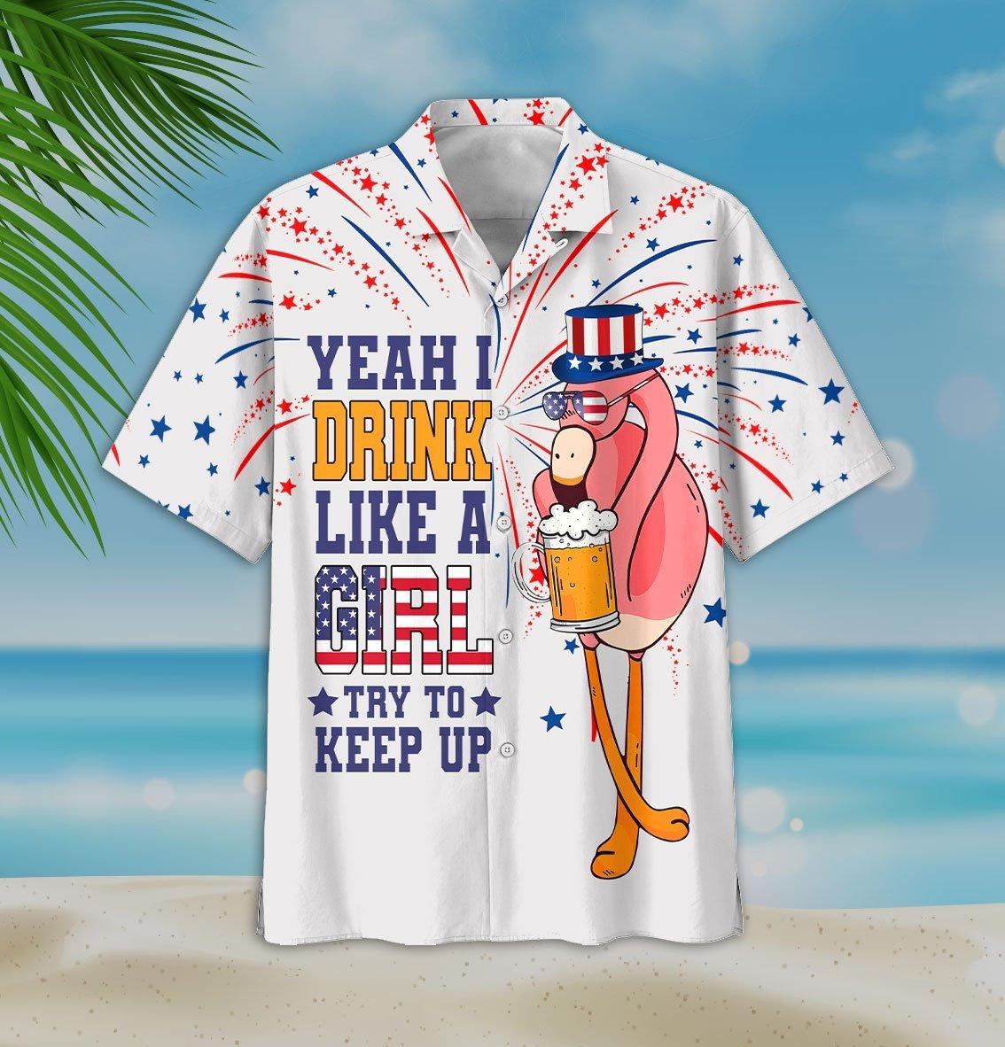 Flamingo And Beer Yeah I Drink Like A Girl Try To Keep Up Hawaiian Shirt2
