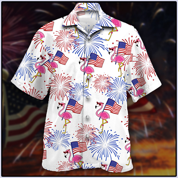 Flamingo and American Flag Hawaiian Shirt4