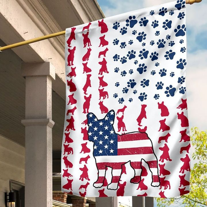 Frenchie American house flag and garden flag
