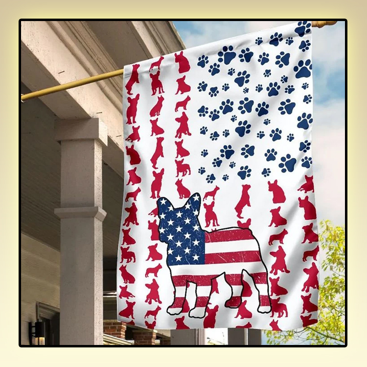Frenchie American house flag and garden flag1