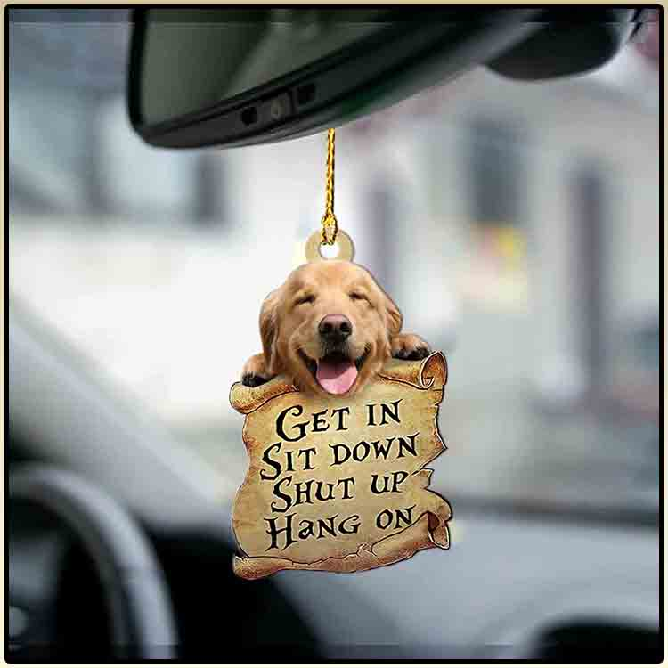 Golden retriever get in sit down shut up hang out ornament4
