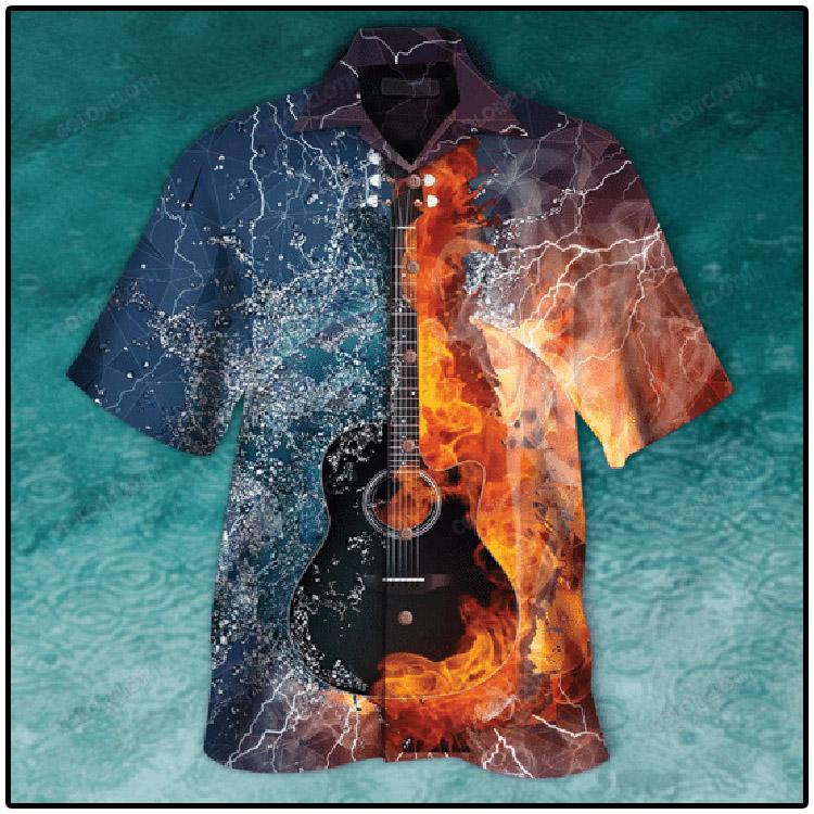 Guitar Fire and Water Hawaiian Shirt2