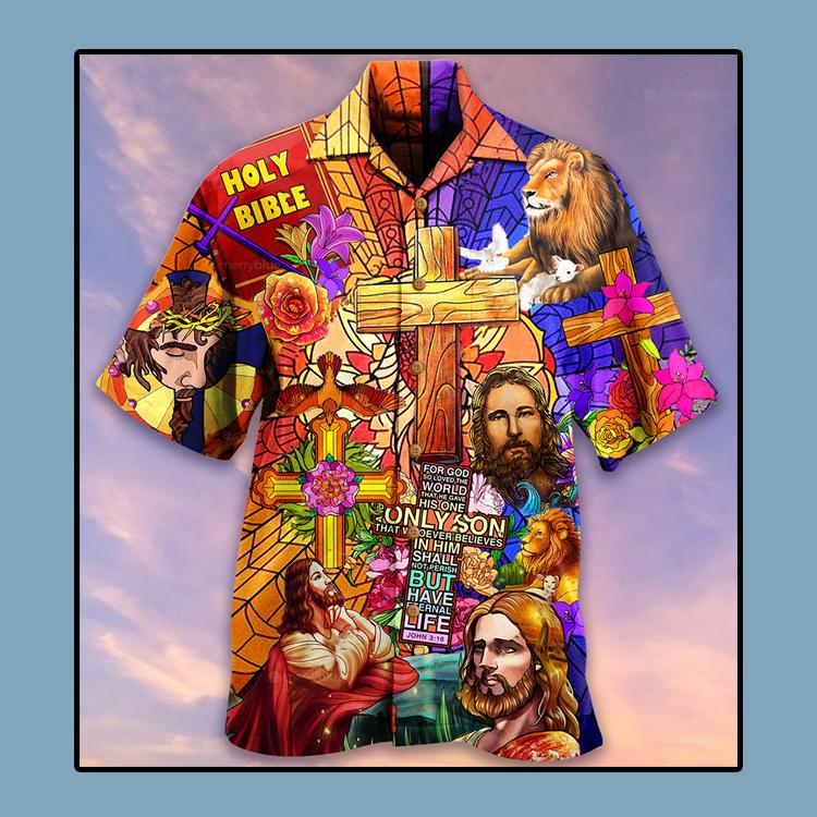 Jesus lion and flowers Hawaiian shirt1