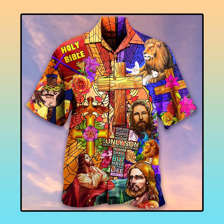 Jesus lion and flowers Hawaiian shirt4