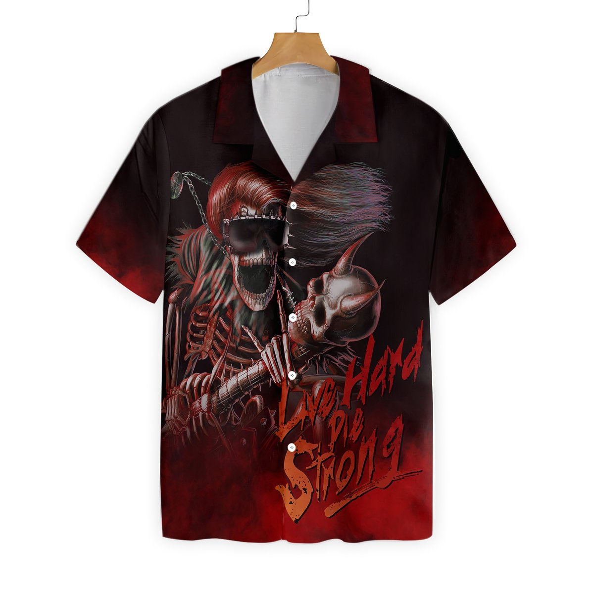 Live Hard Die Strong Burning Guitar Hawaiian Shirt 2