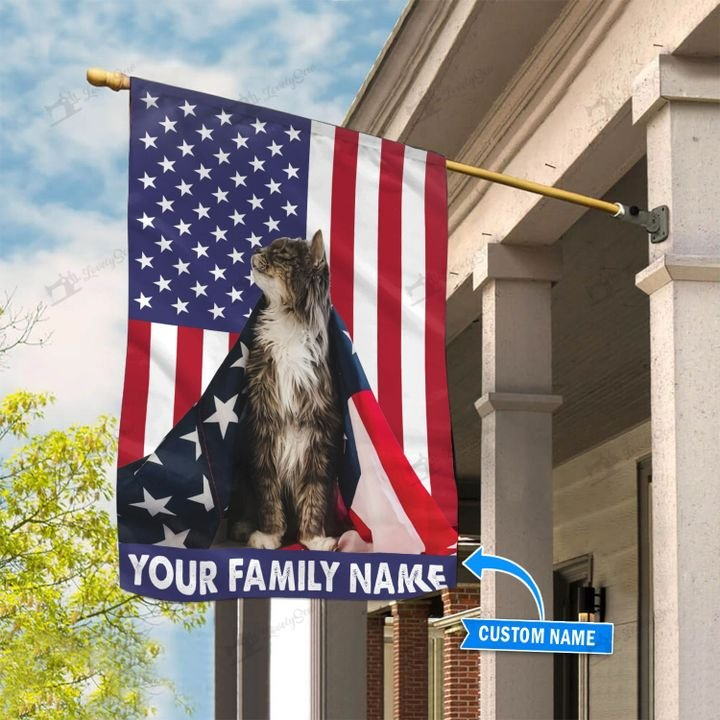 Maine Coon Cat American Cloak Custom Name Flag1