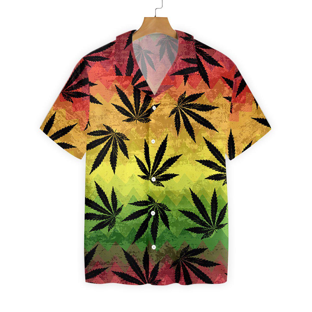 Marijuana Leaf Rasta Hawaiian Shirt1