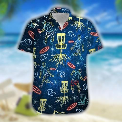 Neon Disc Golf Hawaiian shirt and shorts4