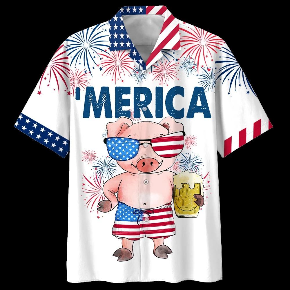 Pig American Flag Firework Hawaiian Shirt and short2 1