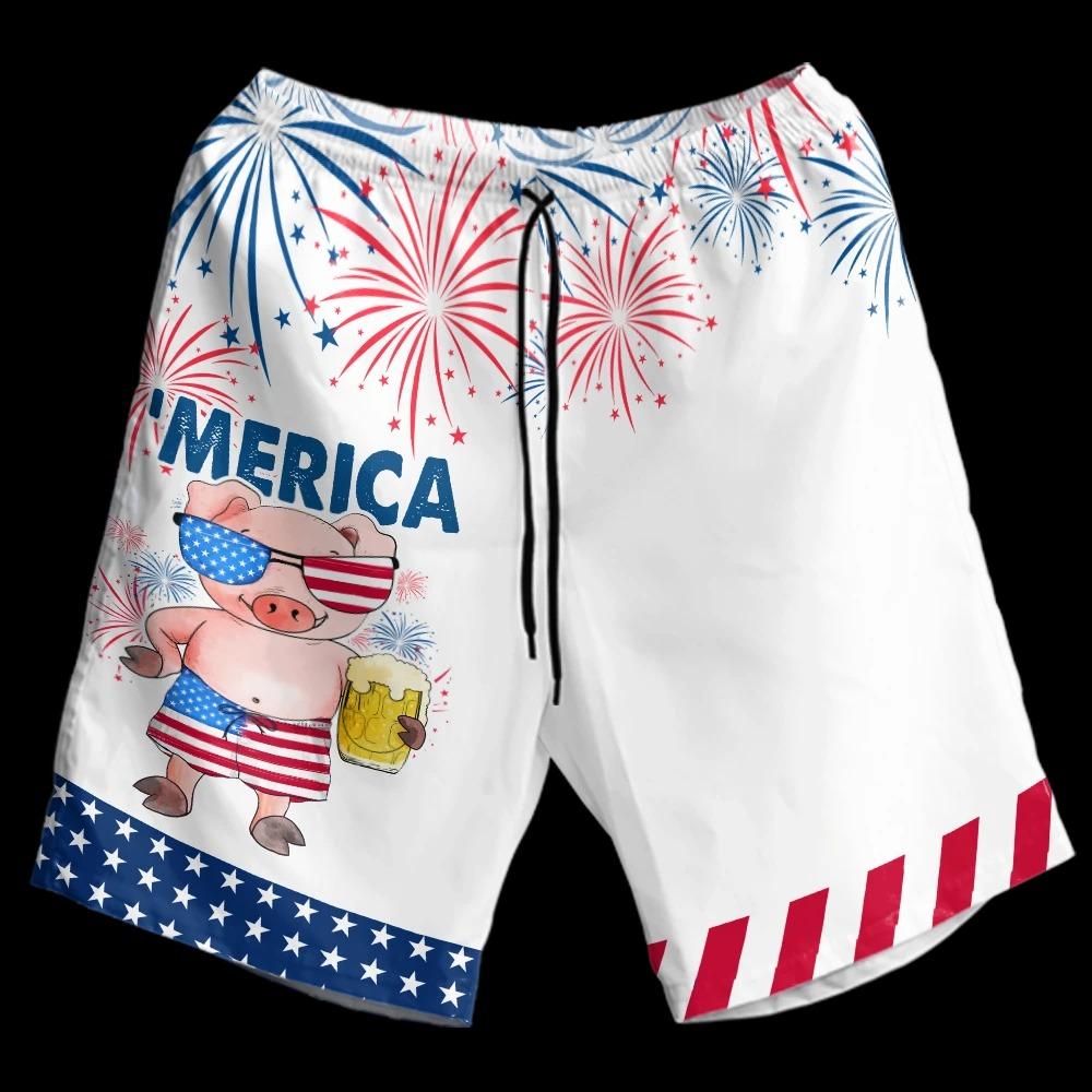 Pig American Flag Firework Hawaiian Shirt and short4