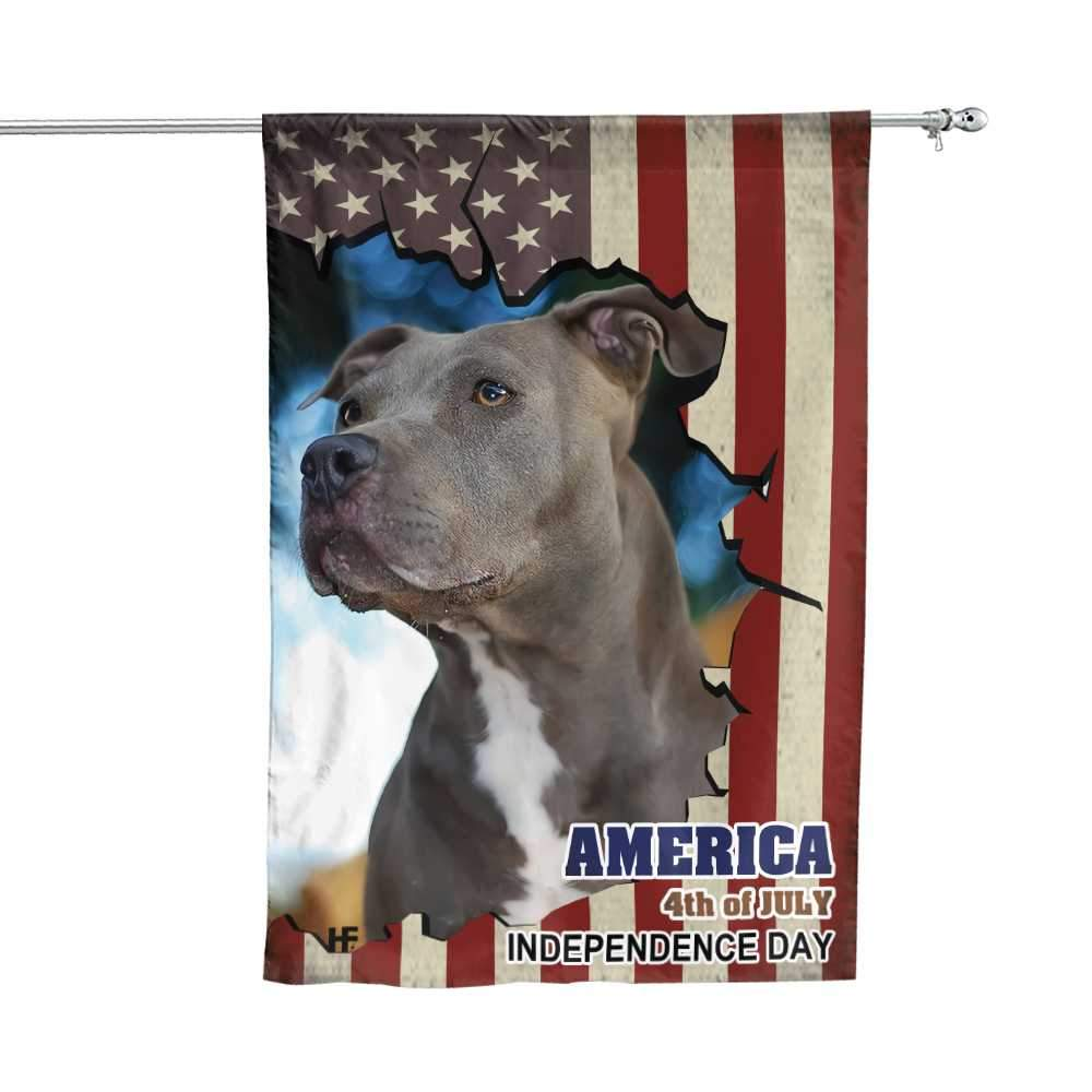 Pitbull American Flag Gift For Independence Day House Flag