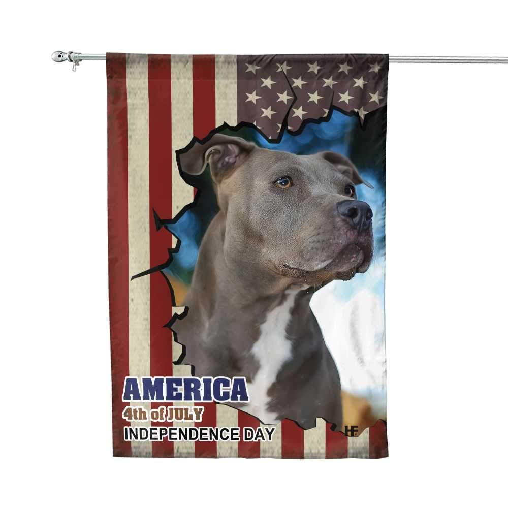 Pitbull American Flag Gift For Independence Day House Flag1
