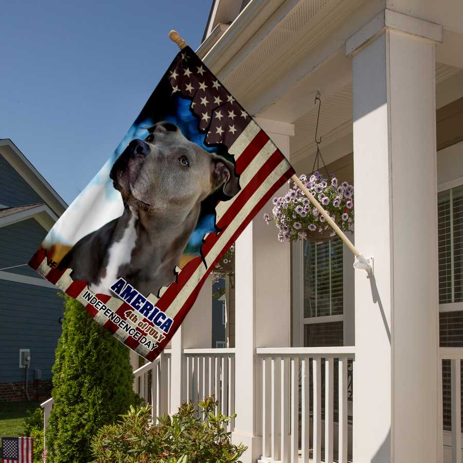 Pitbull American Flag Gift For Independence Day House Flag3