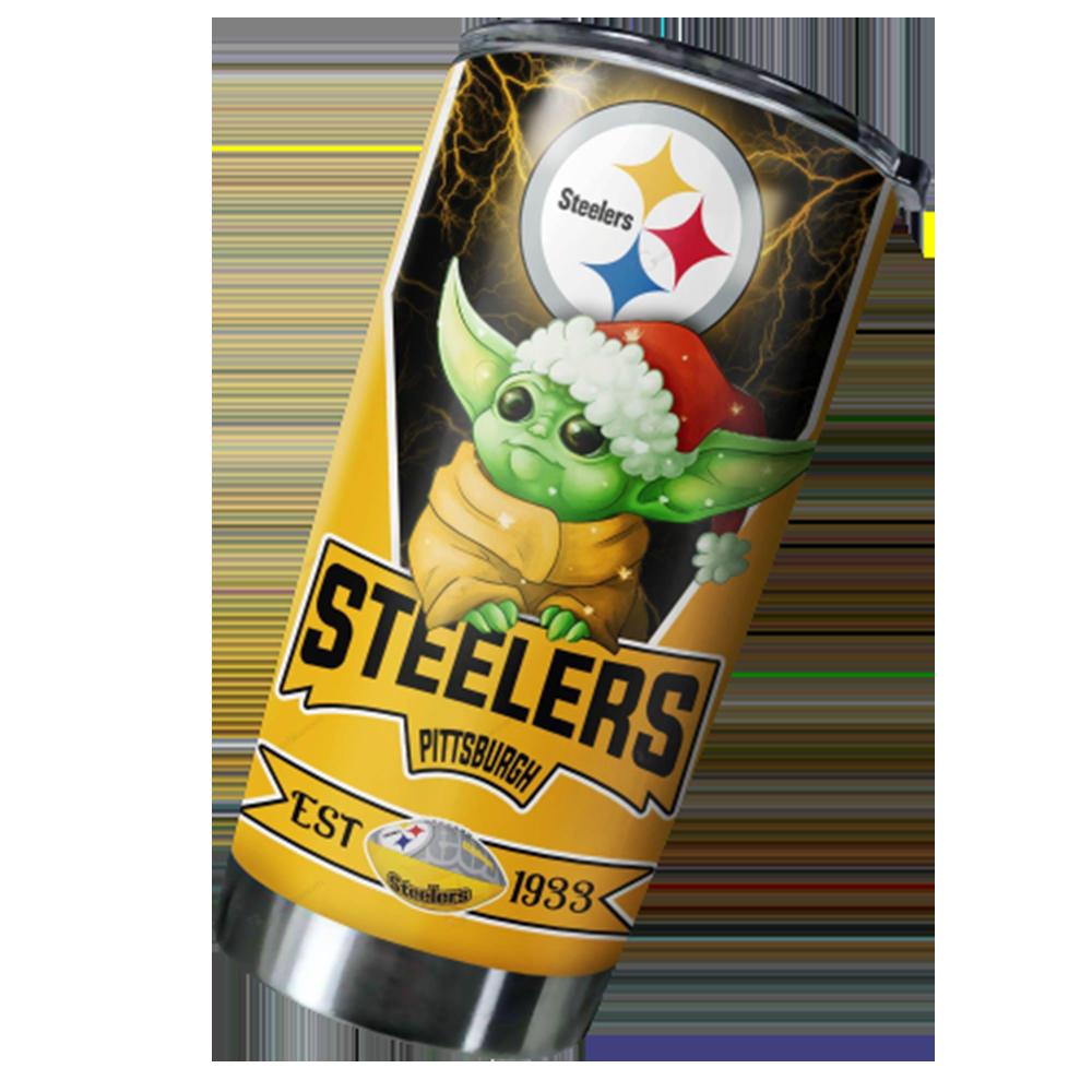 Pittsburgh Steelers NFL Christmas Baby Yoda 20oz Tumbler2