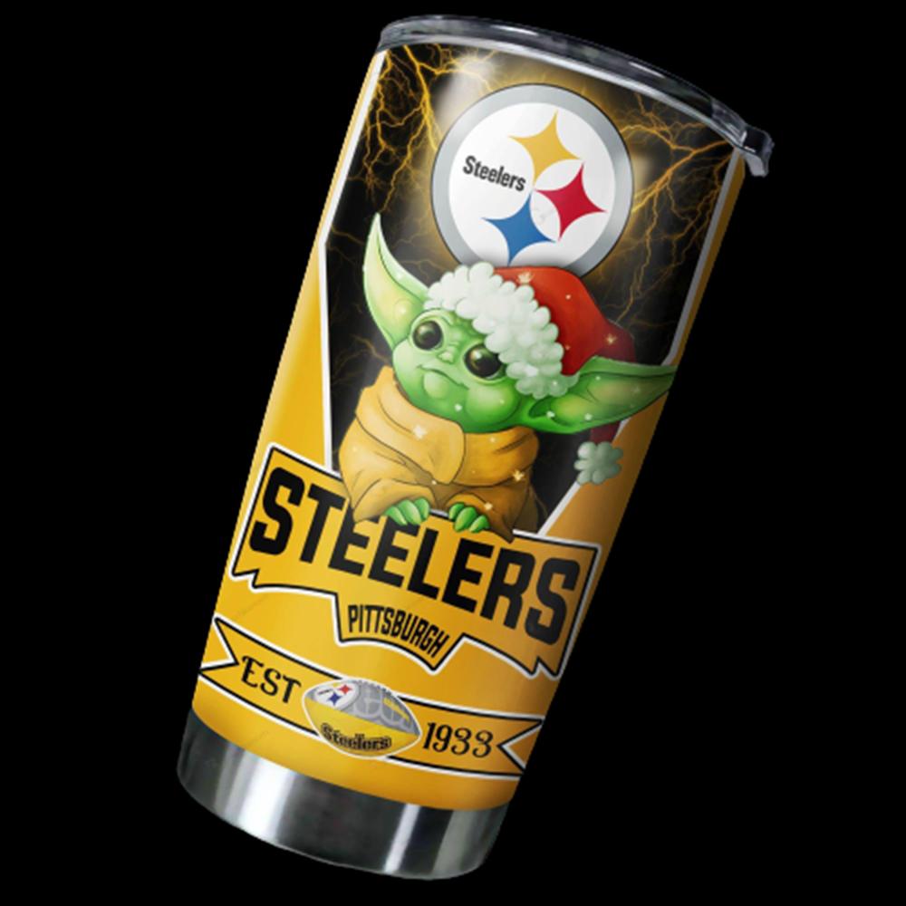 Pittsburgh Steelers NFL Christmas Baby Yoda 20oz Tumbler6
