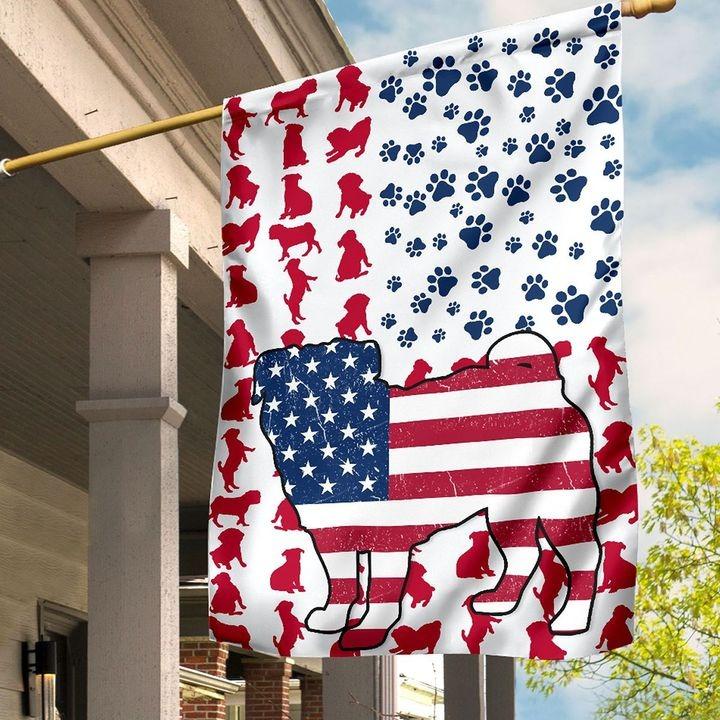 Pug Amercian house flag and garden flag