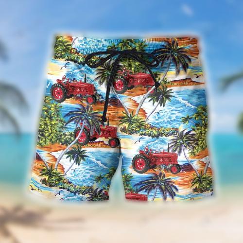 Red Tractor Beach Hawaiian shirt and shorts