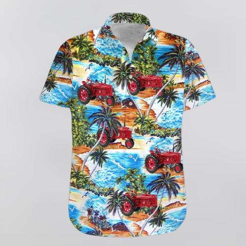 Red Tractor Beach Hawaiian shirt and shorts4 1