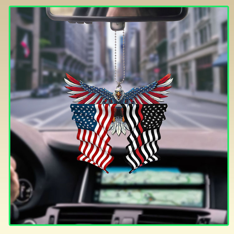 Red line thin firefighter United States American Eagle Flag car hanging ornament7