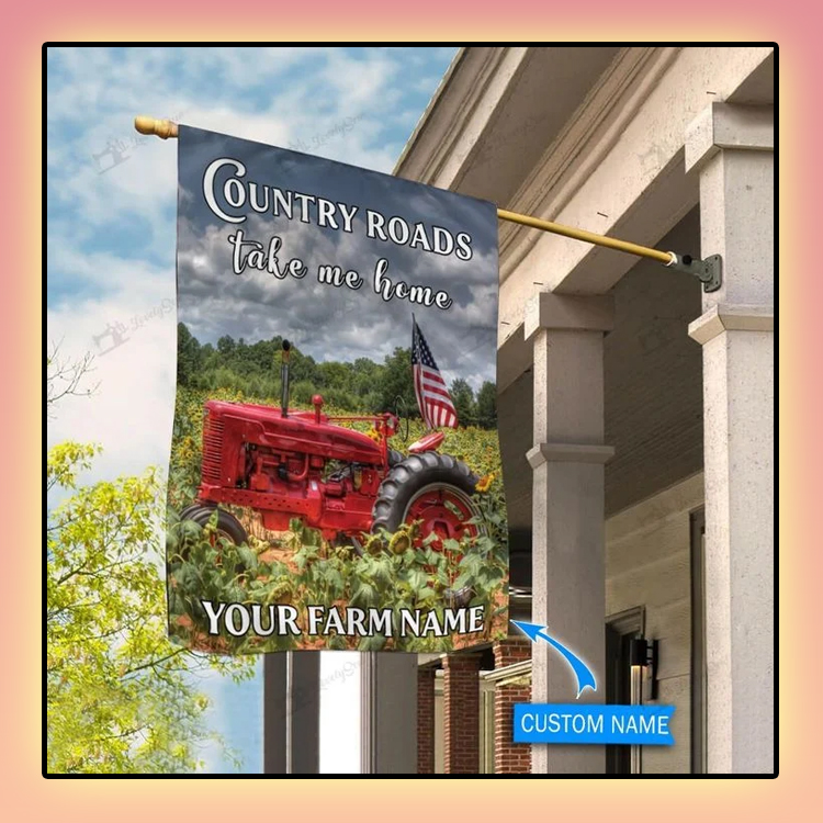 Red tractor country roads take me home personalized flag2