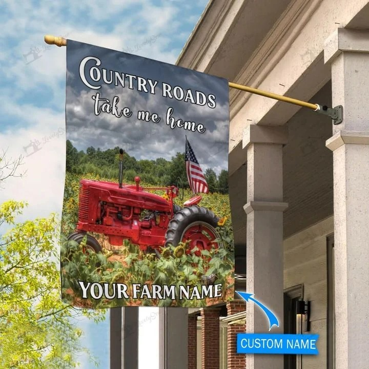 Red tractor country roads take me home personalized flag3
