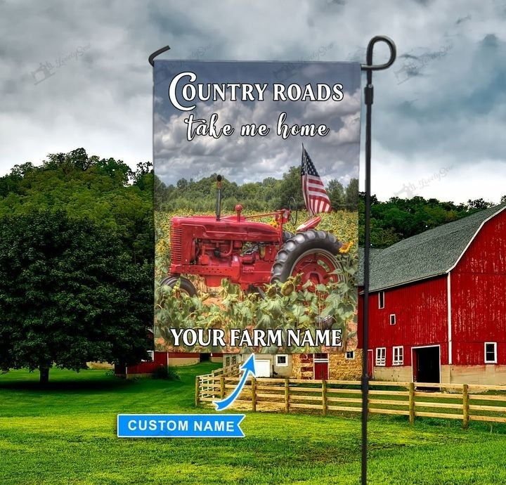 Red tractor country roads take me home personalized flag4