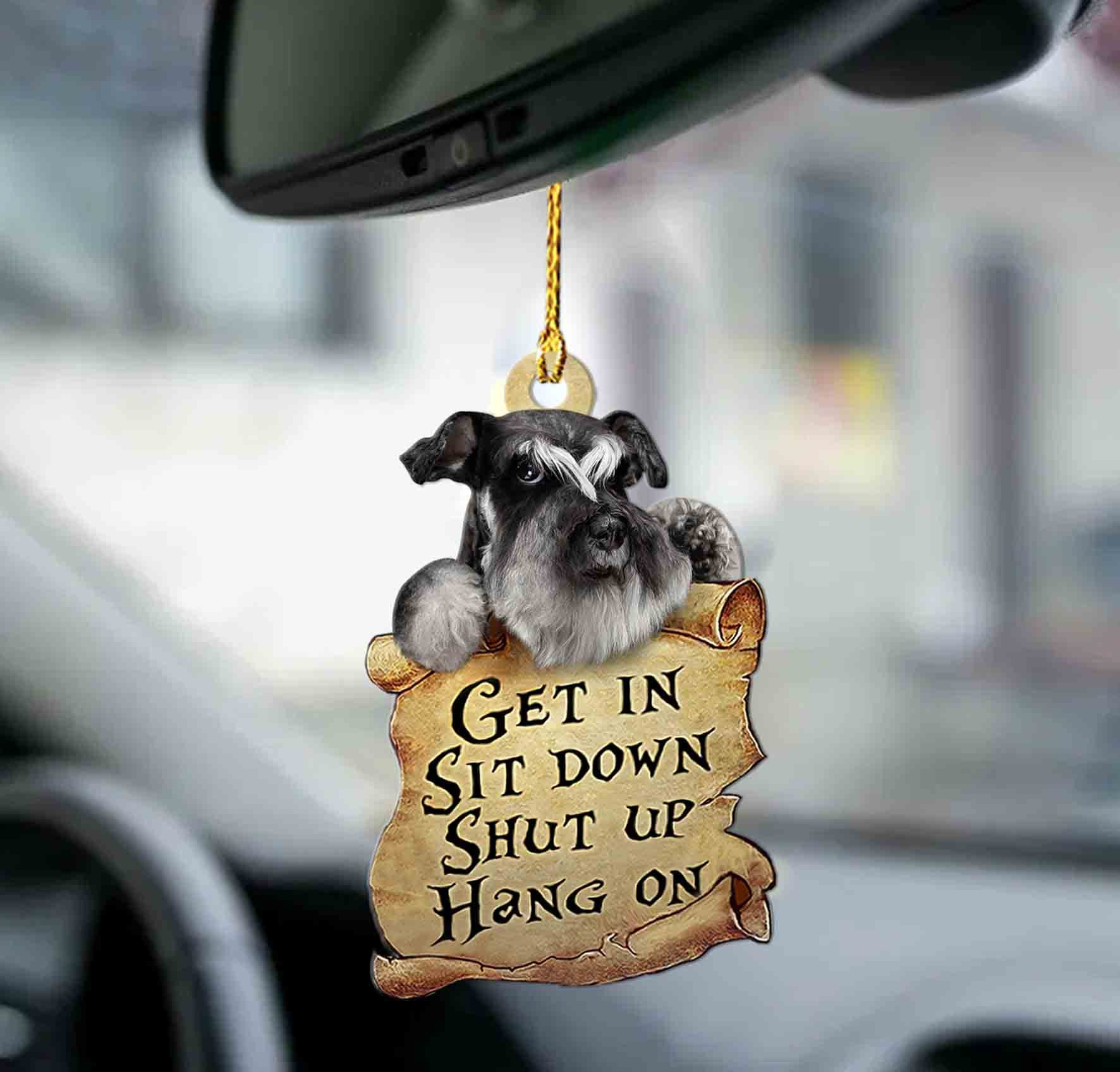 Schnauzer get in sit down shut up hang out ornament1