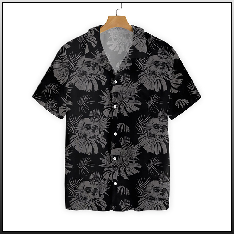 Seamless Gothic Skull With Butterfly Goth Hawaiian Shirt3