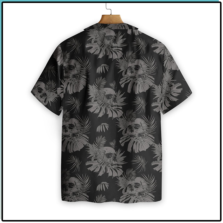 Seamless Gothic Skull With Butterfly Goth Hawaiian Shirt4