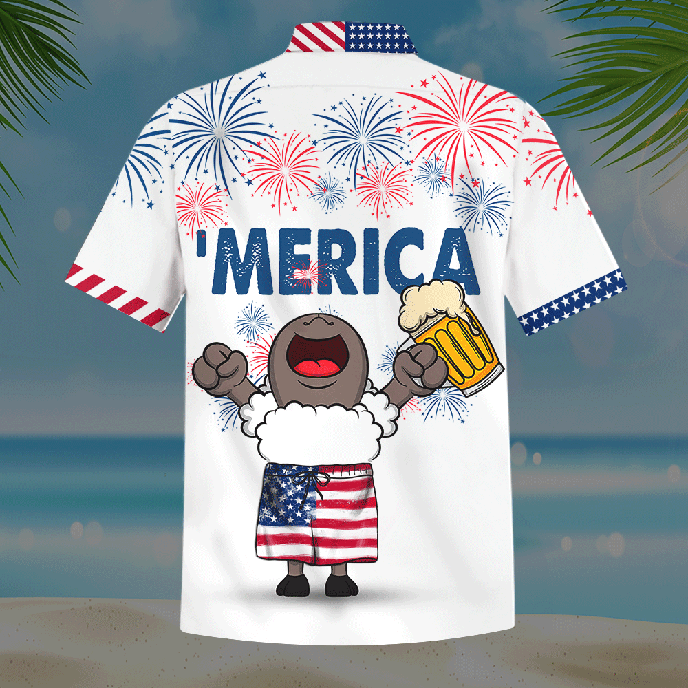 Sheep and Beer American Flag Firework Hawaiian Shirt and Short3