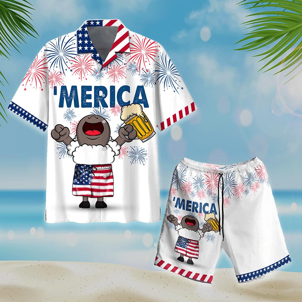 Sheep and Beer American Flag Firework Hawaiian Shirt and Short4