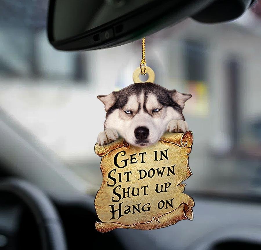 Siberian husky get in sit down shut up hang out ornament1
