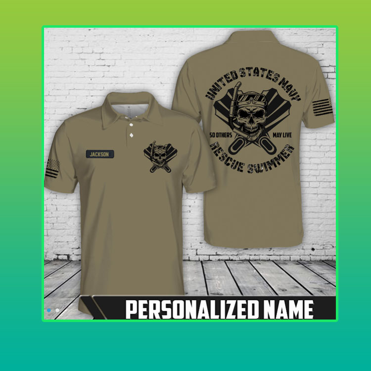Skull united states navy so others may live rescue swimmer custom name polo shirt4