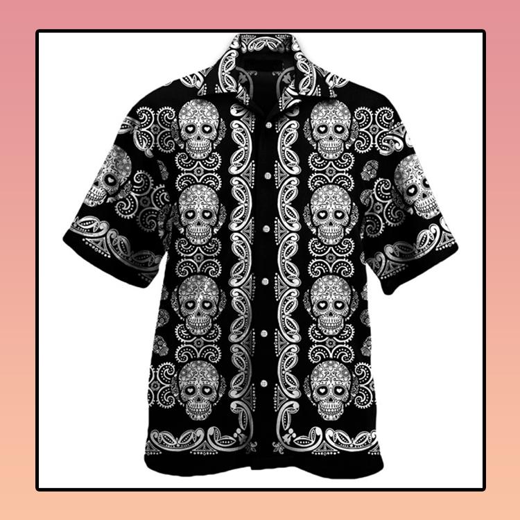 Sugar skull pattern all over print hawaii shirt3