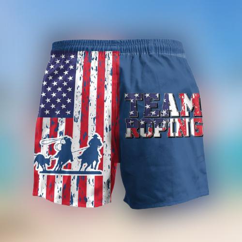 Team Roping American Flag Hawaii Shorts3