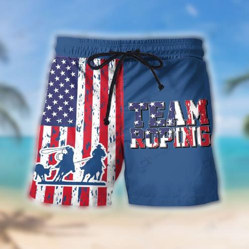 Team Roping American Flag Hawaii Shorts4