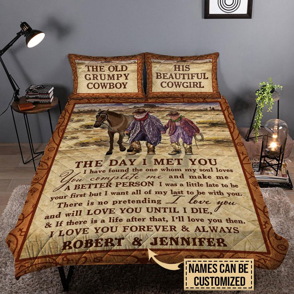 The Old Grumpy Cowboy The Day I Met You Custom Personalized Bedding1