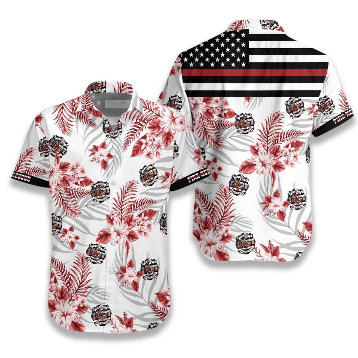The Red Line Flag Firefighter Hawaiian Shirt1