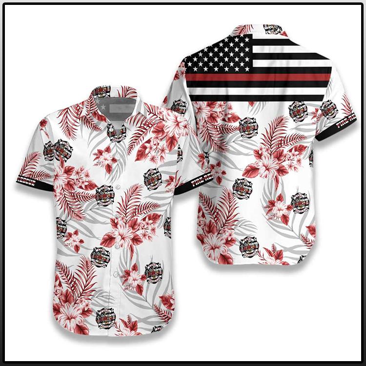 The Red Line Flag Firefighter Hawaiian Shirt2