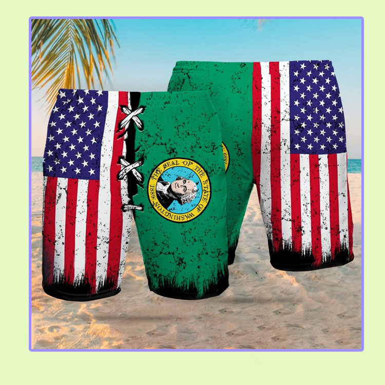 The seal of the state of Washington American flag Beach short