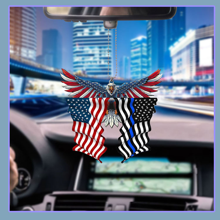 Thin blue line flag in honor of law enforcement United State American Eagle flag car hanging ornament7