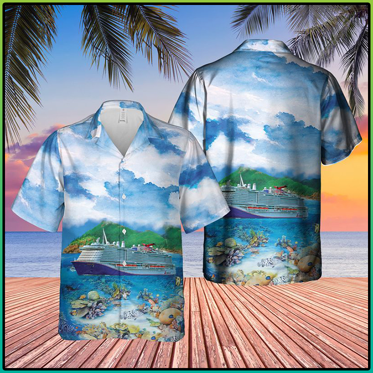 US Cruise Ship Mardi Gras Ocean Life Hawaiian Shirt and Short3