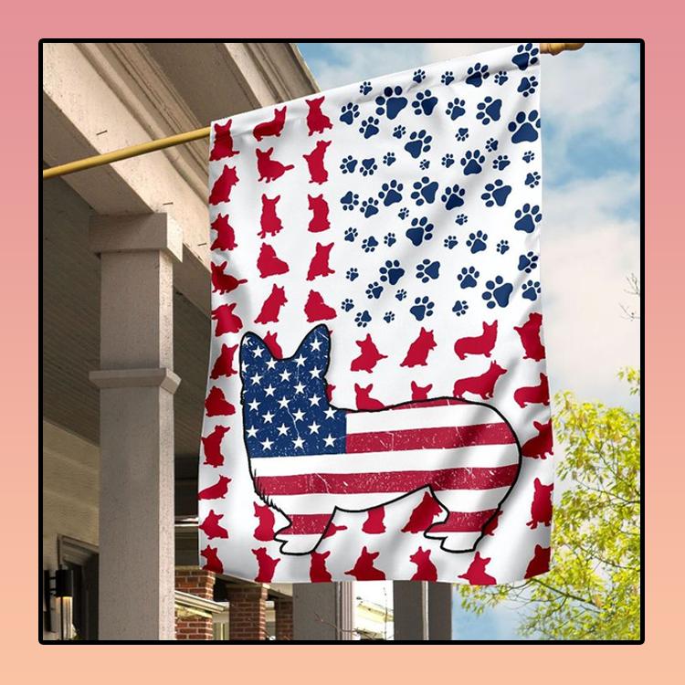 American flag corgi house and garden flag2