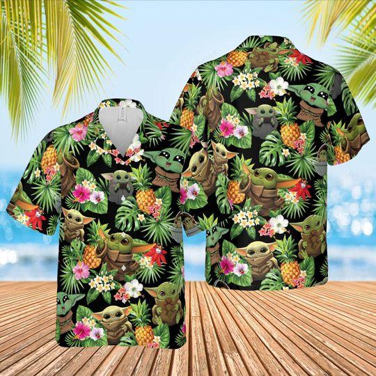 Baby Yoda hawaiian shirt and short 1