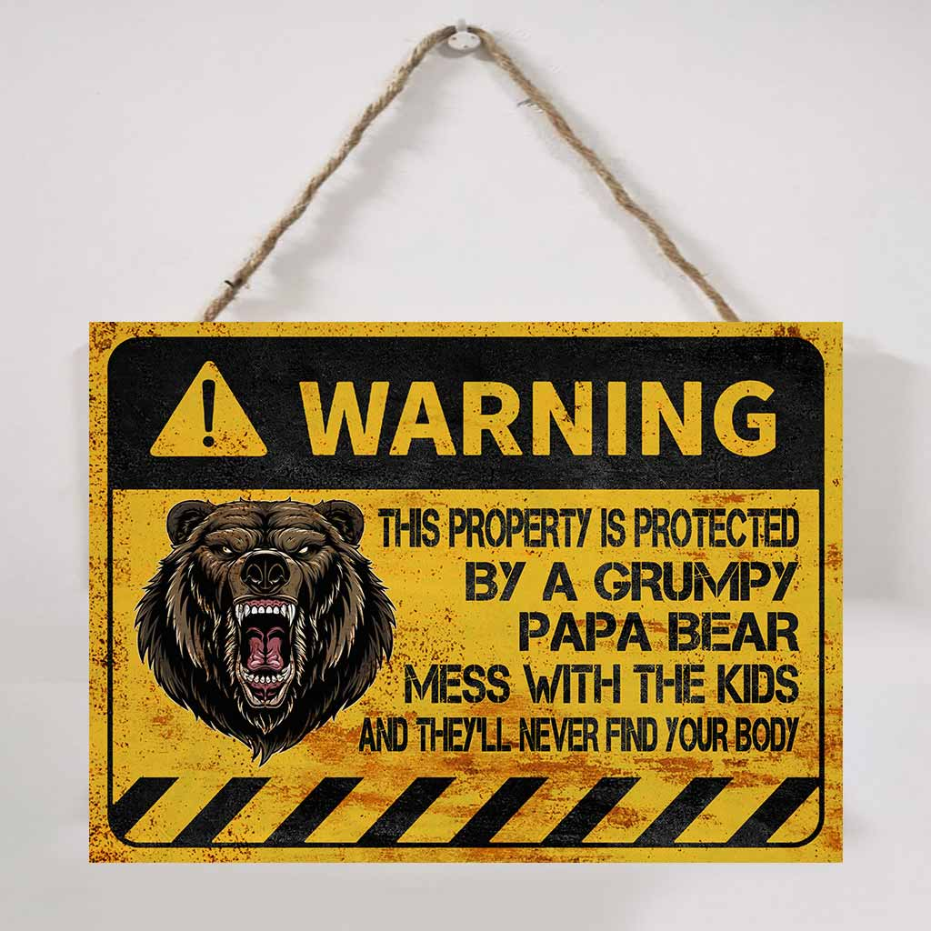 Bear warning this property is protected by a grumpy papa bear metal sign