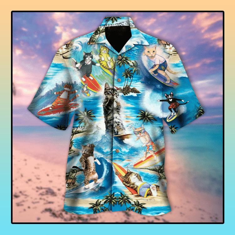Cat Surfing meow hawaiian shirt4