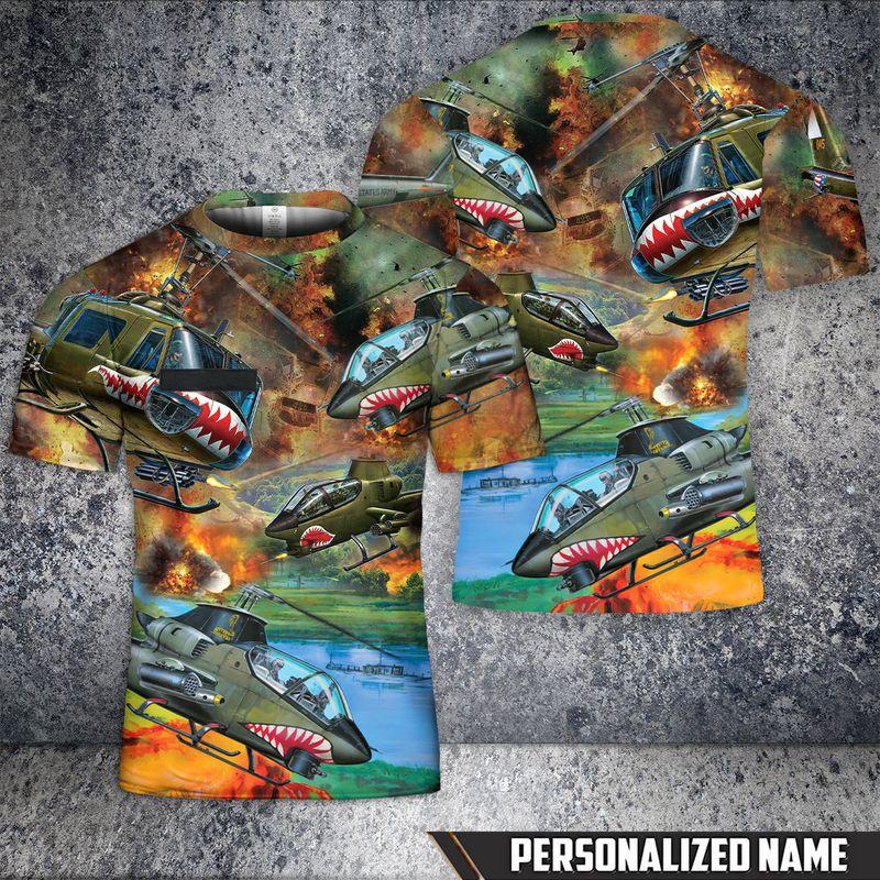 Custom Name United States Army Huey Cobra Helicopter T Shirt
