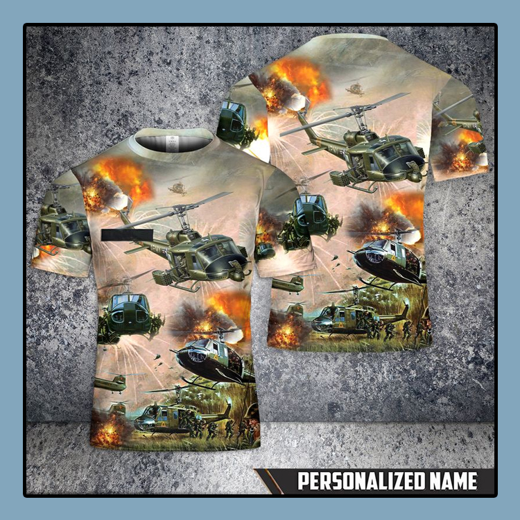 Custom Name United States Army Huey Helicopter T Shirt 3D 4